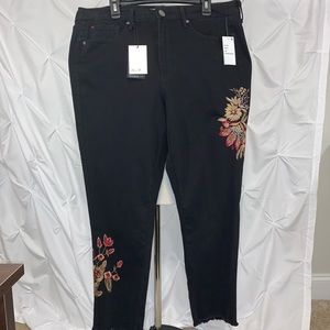 SEVEN7 High Rise Ankle Skinny Embroidered Jeans